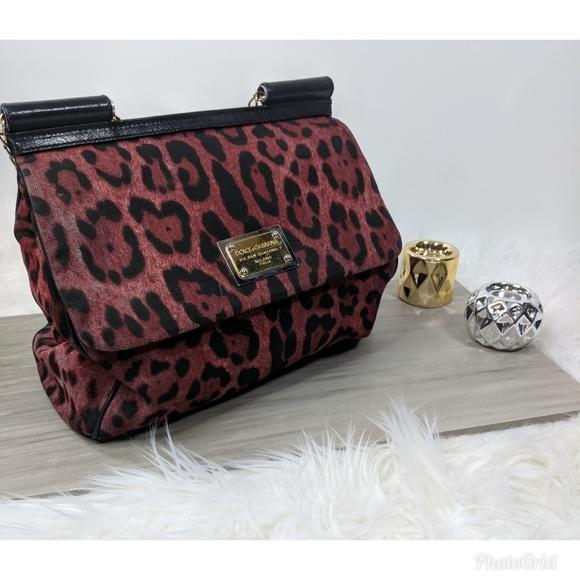 851c6357bca3 Dolce   Gabbana Handbags - Dolce Gabbana Miss Sicily Red Leopard Bag